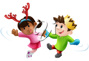 Cartoon of two children or young people in seasonal Christmas outfits having fun dancing