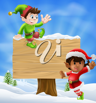 Seasonal cartoon of two Christmas elves and a sign in the snow with Christmas trees in the background.