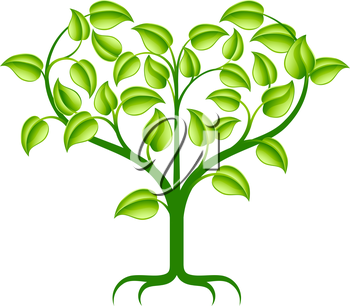 A green abstract tree illustration with branches growing into a heart shape.