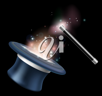 Magic tophat and magic wand illustration with magic in the form of stars and light floating around them