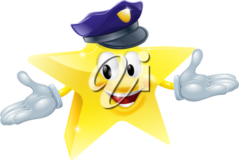 Drawing of a police or security star man smiling happily