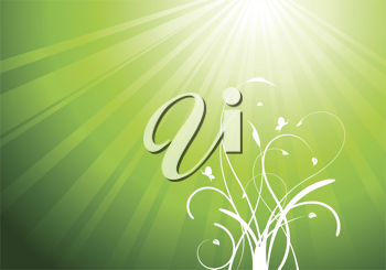 Royalty Free Clipart Image of a Floral Flourish on Green Background With Beams
