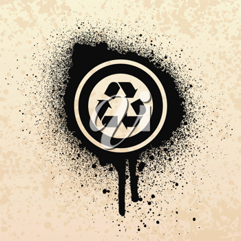 Royalty Free Clipart Image of a Grunge Recycling Symbol