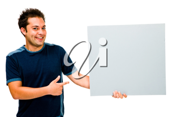 Royalty Free Photo of a Happy Man Holding a Blank Placard
