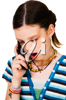 Royalty Free Photo of a Young Girl Talking on her Cell Phone