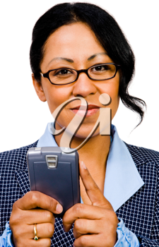 Royalty Free Photo of a Business Woman Texting on her Phone