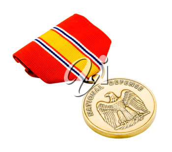 Military medal isolated over white