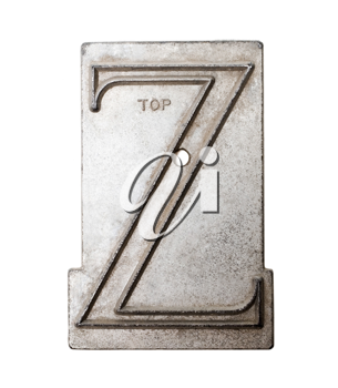 Character Z on a metal sheet isolated over white