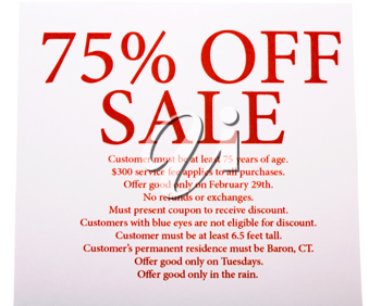75% SALE OFF text written on a sheet of paper isolated over white