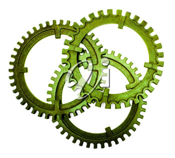 Green color gears isolated over white