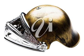 Armor helmet of golden color isolated over white