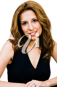 Latin American woman posing and smiling isolated over white