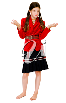 Happy girl posing and gesturing isolated over white