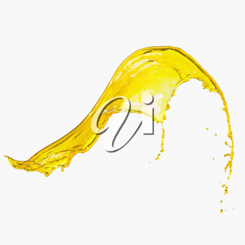 Splash of yellow paint on a white background