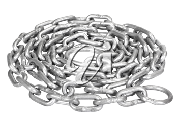 Close-up of a curled up metal chain