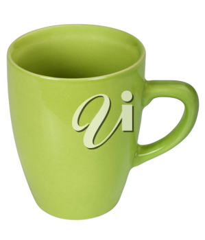 Close-up of a green ceramic cup