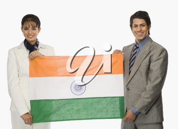 Business executives holding an Indian flag