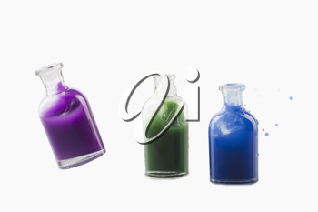 Close-up of chemical bottles