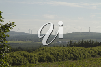 Wind turbines on a hill, Tralee, County Kerry, Republic of Ireland