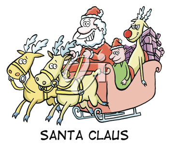 Royalty Free Clipart Image of Santa, an Elf and a Reindeer in a Sleigh
