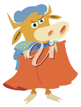 Royalty Free Clipart Image of a Matador Bull