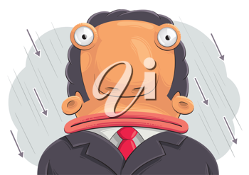 Royalty Free Clipart Image of a Businessman in the Rain