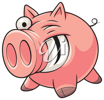 Royalty Free Clipart Image of a Winking Pig