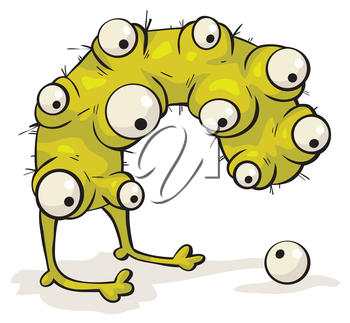 Royalty Free Clipart Image of a Creature With Many Eyes Looking at One on the Ground