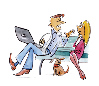 Royalty Free Clipart Image of a Man Talking to a Woman on a Park Bench