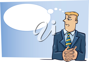 Royalty Free Clipart Image of a Man a Thought Bubble