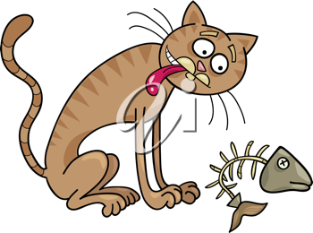 Royalty Free Clipart Image of a Cat With a Fishbone
