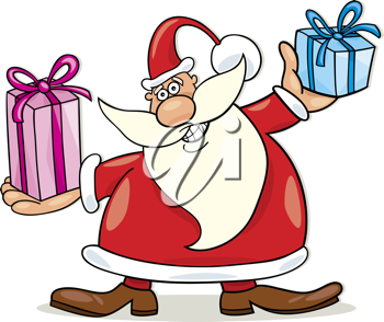 Royalty Free Clipart Image of Santa Holding Gifts
