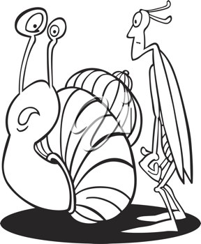Royalty Free Clipart Image of a Snail and a Grasshopper