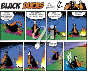 Royalty Free Clipart Image of a Black Duck Comic Strip About a Campfire