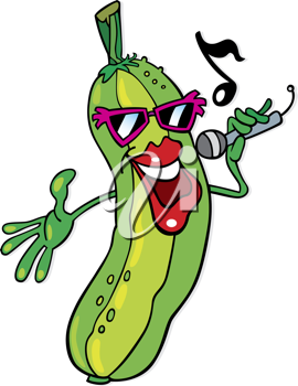 Royalty Free Clipart Image of a Singing Cucumber