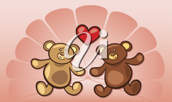 Royalty Free Clipart Image of Teddy Bears in Love