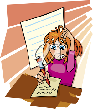 Royalty Free Clipart Image of a Girl Writing a Test