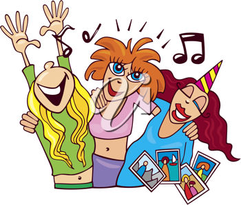 Royalty Free Clipart Image of Women Partying