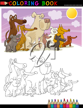 Coloring Book or Page Cartoon Illustration of Funny Sitting Dogs Group for Children