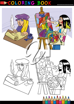 Coloring Book or Page Cartoon Illustration of Poet writting poem and Painter painting Oil Picture