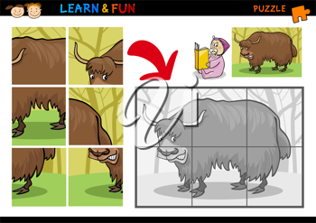 Cartoon Illustration of Education Puzzle Game for Preschool Children with Funny Yak Bull Animal