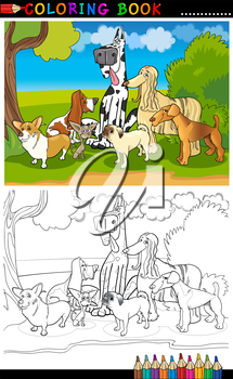 Cartoon Illustration of Funny Purebred Dogs like Corgi, Pug, Basset, Chihuahua and Afghan Hound for Coloring Book or Coloring Page