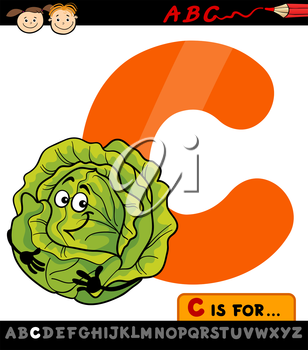 Cartoon Illustration of Capital Letter C from Alphabet with Cabbage for Children Education