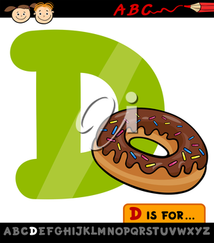 Cartoon Illustration of Capital Letter D from Alphabet with Donut for Children Education