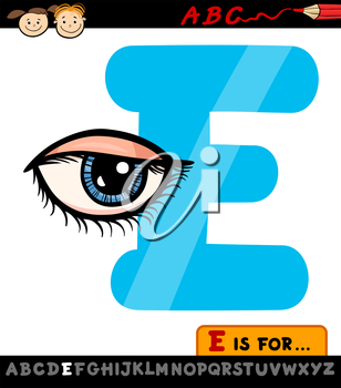 Cartoon Illustration of Capital Letter E from Alphabet with Eye for Children Education