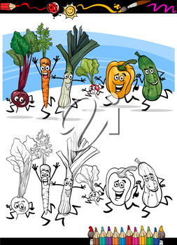 Coloring Book or Page Cartoon Illustration of Running Vegetables Funny Food Objects Group for Children Education