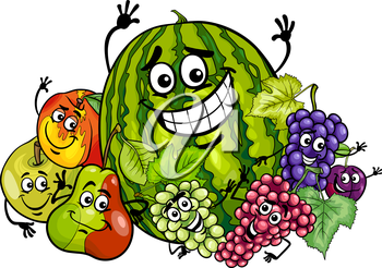 Cartoon Illustration of Funny Fruits Food Characters Group