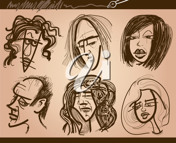 Cartoon Illustration of People Faces Caricature Drawings Set