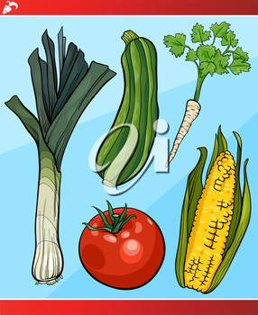 Cartoon Illustration of Vegetables Vegetarian Food Object Set