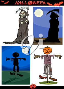 Cartoon Illustration of Halloween Holiday Themes like Death Grim Reaper or Scarecrow and Pumpkin